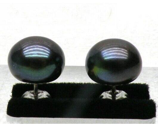 ZCD  EARRING  321+++ Beautiful 13-14mm AAA black South Sea Pearl Earring SILVER Stud