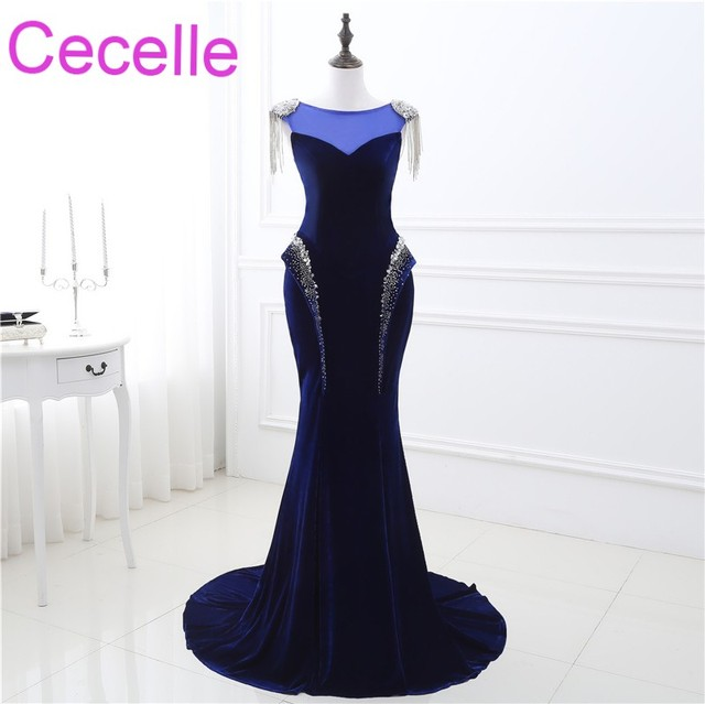 Royal Blue Mermaid Long Evening Dresses 2019 Velour Corset Back Women Fashion Formal Night Wear Evening Party Wear Real Photos