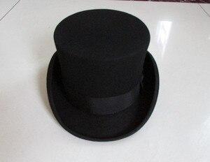 """Image 3 - גברים בסגנון בריטי פדורה צמר נשים Steampunk למעלה כובע צילינדר כובע קסמים קוסם חבילה טובה צמר מגבעות לבד שווי 12 ס""""מ גבוהה B 8114"""
