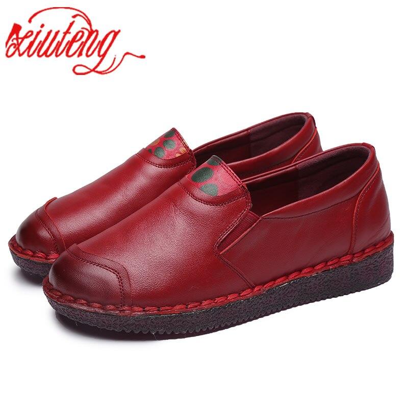 Xiuteng/Новинка 2020 года; Летние туфли на плоской мягкой подошве; Женская обувь из натуральной кожи; Женская обувь для отдыха; Утолщенная обувь на плоской подошве; Sapato|Обувь без каблука|   | АлиЭкспресс