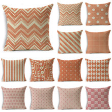 WZH Pink&Orange Texture Cute Cushion Cover 45x45cm Linen Decorative Pillow Cover Sofa Bed Pillow Case(China)