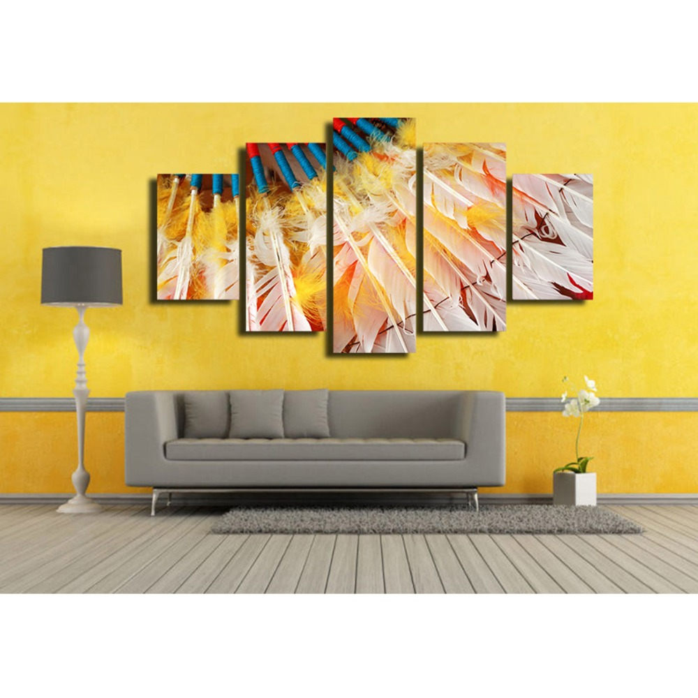 5 Piece canvas painting Color bow and arrow painting Has framework ...