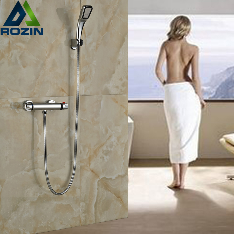 Luxury Bathroom Shower Set Mixer Faucet In-wall Thermostatic Shower Water Tap Chrome Finish Handheld Shower new shower faucet set bathroom faucet chrome finish mixer tap w abs handheld shower wall mounted