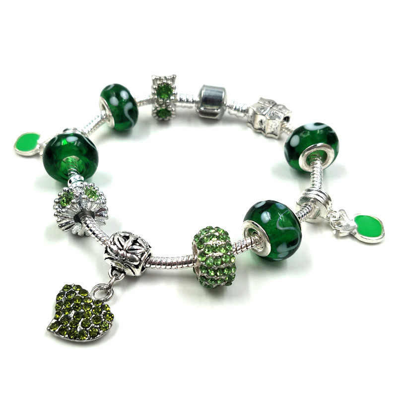 russian trendy green charm bead bracelet large hole crystal lampwork murano bead jewelry crystal bead cheap costume bracelet