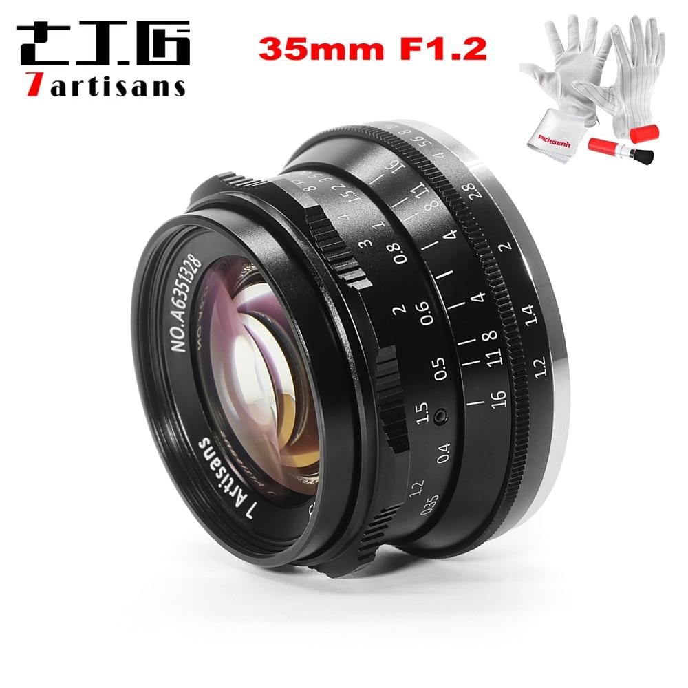 7 artesanos 35mm F1.2 APS-C Manual fija para Sony E montaje Canon EOS-M montaje Fuji FX montaje a6500 A6300 A7 X-A1 M5 M6 M10