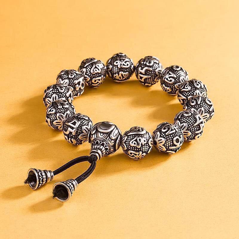 Tibetan Buddhism Brass Silver Plated Charm Rope Bracelet For Men Six Words Mantra Yoga Lotus Prayer Beads Bracelet Women