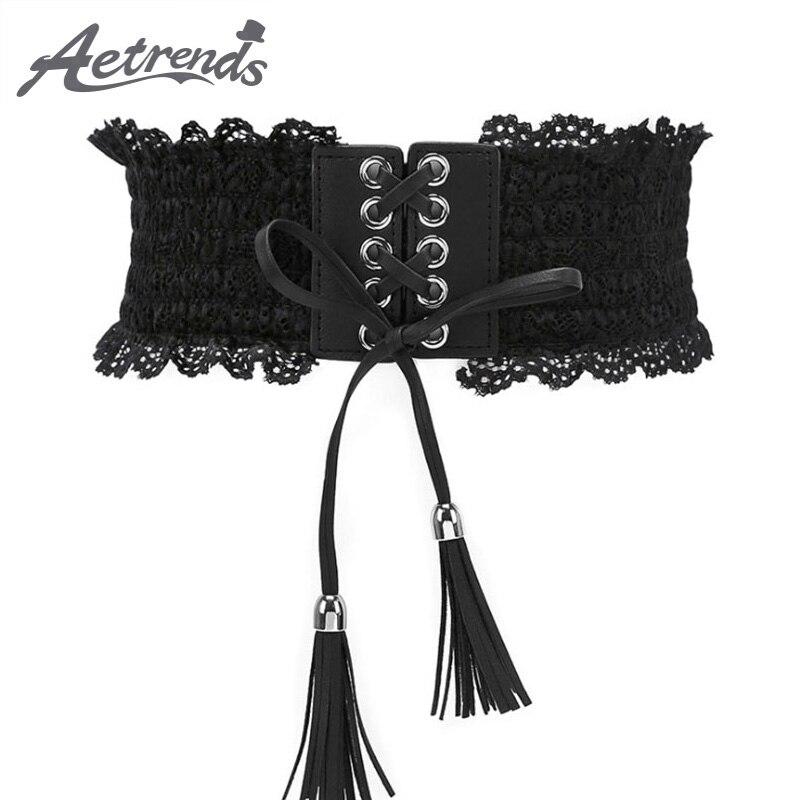 [AETRENDS] Women Cinch BeltLace Sexy Waistband Stretch Strap Belts Wide Elastic Fashion Waist Belt Cummerbunds D-0106
