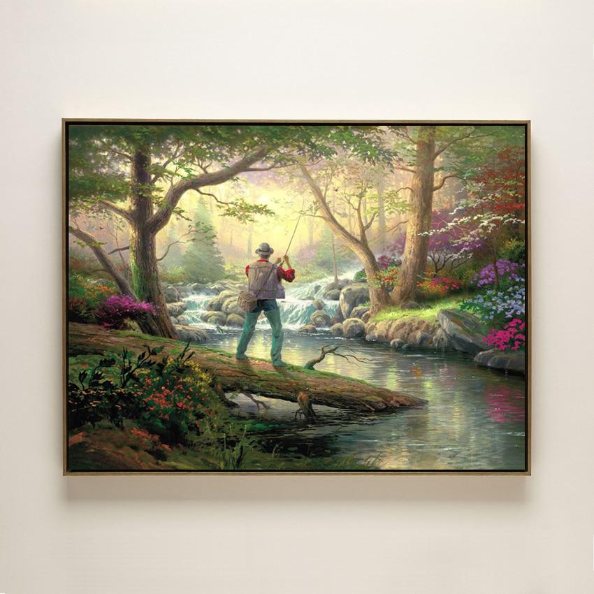 cotton handmade oil painting Thomas man fishing stream ...