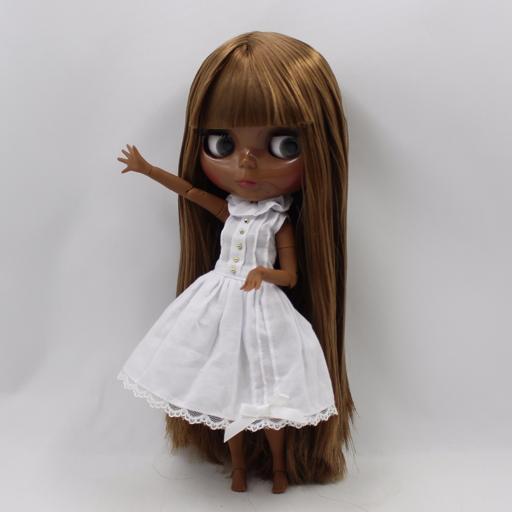 "12/"" Neo Blythe Doll From Factory Jointed Body Super Black Skin Brown Hair+Hands"