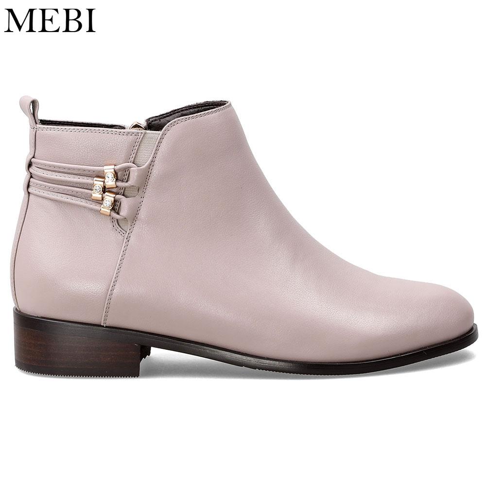 Felpa Albaricoque Redonda Apricot Zapatos Mebi Marca Con Para Plana Punta Mujer Las Sólido Mujeres Botas Botines HBqOZwYqC