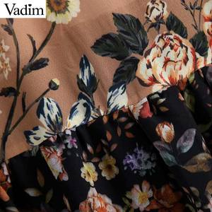 Image 5 - Vadim phụ nữ V cổ hoa voan xếp li ăn mặc xem qua dài tay áo cổ điển nữ retro chic trung bê ăn mặc vestidos QA763