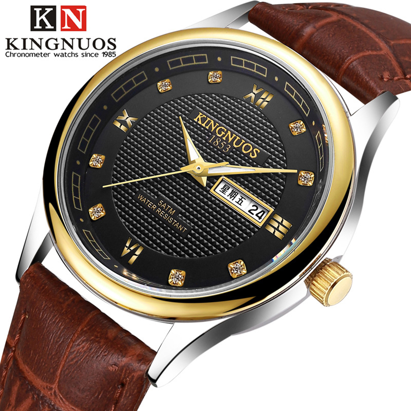 KINGNUOS Fashion Casual Lover Wristwatch Rhinestone Roman Numerals Auto Date Leather Strap Quartz Business Couple Watch Relogio
