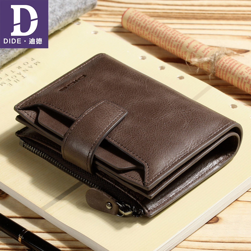DIDE Large Capacity Casual Business Genuine Leather Wallet Man Short Clutch Bag men For Girls Coin Purse Trifold Dropshipping vicuna polo italy famous brand men wallet high quality pu leather trifold wallet large capacity short metal wallet for man