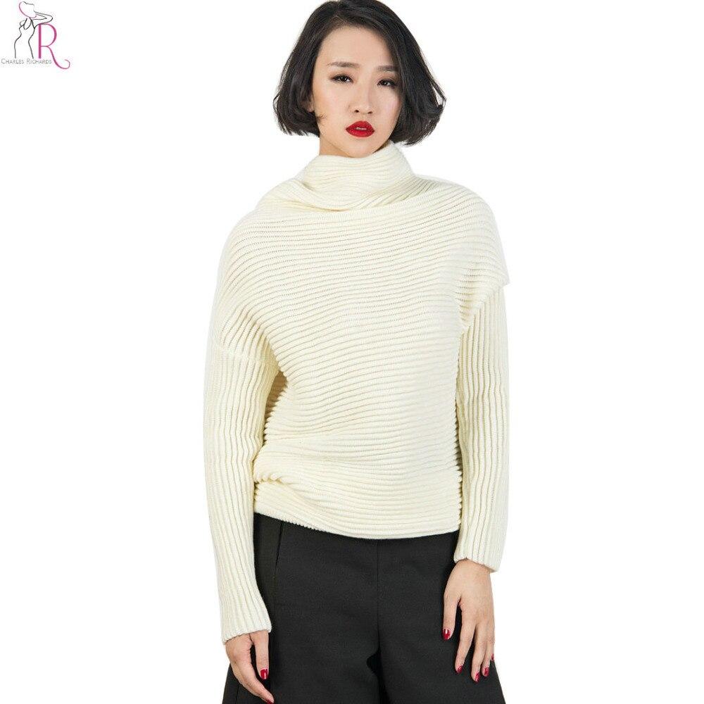 ⑤Blanco Batwing manga larga de punto alto cowl cuello alto suéter ...