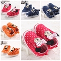 11-13 cm de los Bebés Zapatos Del Muchacho Mono Lindo de la Historieta de Mickey Minnie Embroma Los Zapatos de Bebé Bebe Primeros Caminante 0-18Month