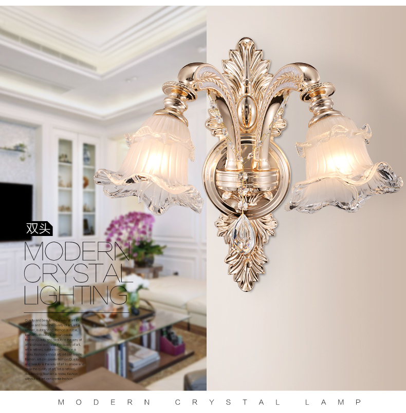 Gold Sconce Crystal Wall Lamp Gold Bedside Lamp Bedroom Living Room Crystal Wall Lights Aisle Stairs Hotel Restaurant Wall Lamps in Wall Lamps from Lights Lighting