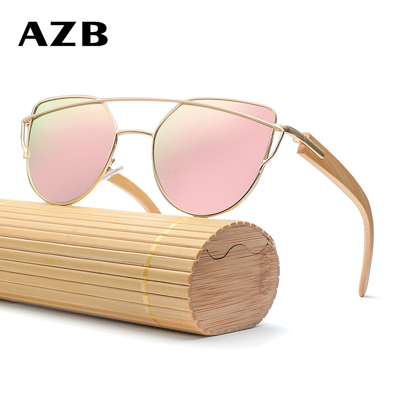 AZB Cat Eye Zonnebril Dames Merk Designer Bamboe Houten benen - Kledingaccessoires