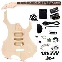 Незавершенная липа электрогитара дети ручной работы DIY музыкальный инструмент, гитара тела шеи струнные наборы детские развивающие игрушк