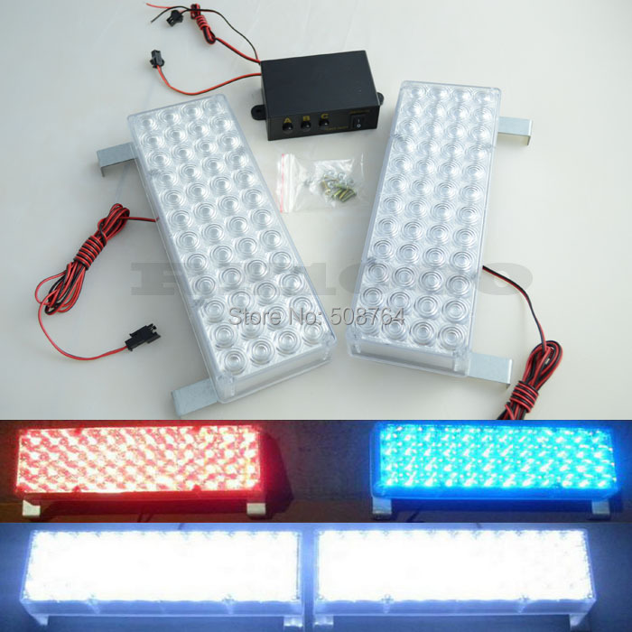 48led  Waterproof CAR LED Strobe Warning Lights 2x48 96led Emergency Vehicle 3 modes Flash Truck  red and blue or  white Amber bright amber 24 led strobe light warning emergency flashing car truck construction car vehicle safety 7 flash modes 12v