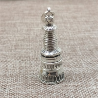 925 Sterling Silver Tower Prayer Box Locket Pendant Buddhism Buddhist Om mani padme hum