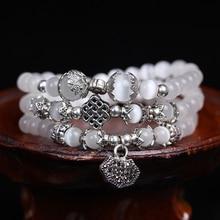 Fashion 6mm Natural White Opal Beaded Tibetan Buddhist 108 Prayer Beads Necklace Gourd mala Prayer Bracelet