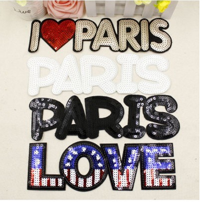 4 design big size letters sequin badge iron on embroidery patches garment appliques diy accessory