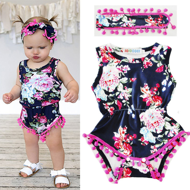 045b61d44 Floral Summer Baby Girls Clothing Sets 2018 New Infantil Rompers ...