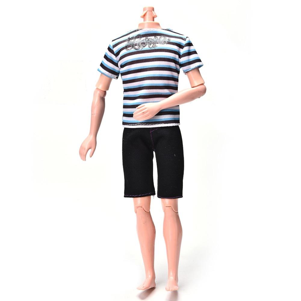 2Pcs/Set Summer Handmade Casual Cool Dool Suit New Fashion Striped Print Shirt Black Short Pants For  Ken Accessories