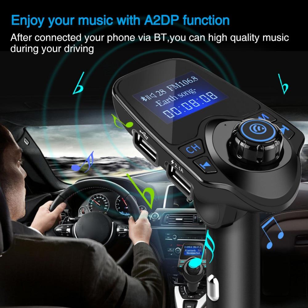 Car Mp3 Player Wireless <font><b>Bluetooth</b></font> Handsfree Car Kit FM Transmitter A2DP 5V 2.1A USB Charger LCD Display for iPhone Samsung <font><b>T11</b></font>