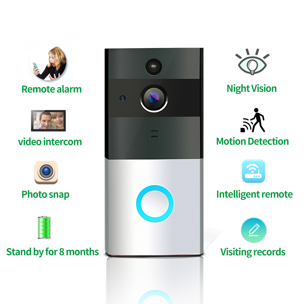 Easy to install low power home safety Kingston 8G Memory Card Wireless WiFi visual cat eye doorbell Mobile APP remote intercom mogood intelligent doorbell camera visual doorbell cat eye type 3 screen with 8g tf memory card