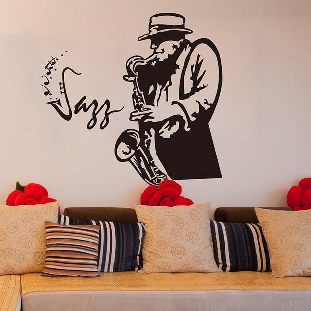 SHIJUEHEZI] Saxophone Performer Wall Sticker Vinyl DIY Wall Art for ...