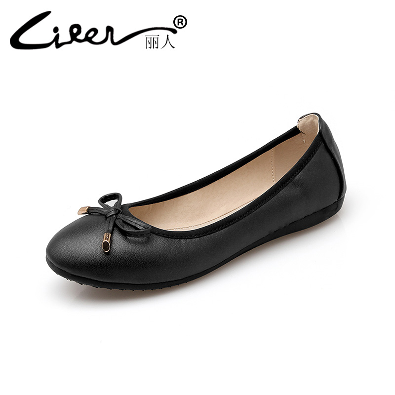 Liren 2018 Women Flats Spring Round Toe Solid Pu Casual Ladies Leather Flat Shoes Soft Shallow Loafers Big Size 45 Womens Flat 2017 summer new fashion sexy lace ladies flats shoes womens pointed toe shallow flats shoes black slip on casual loafers t033109