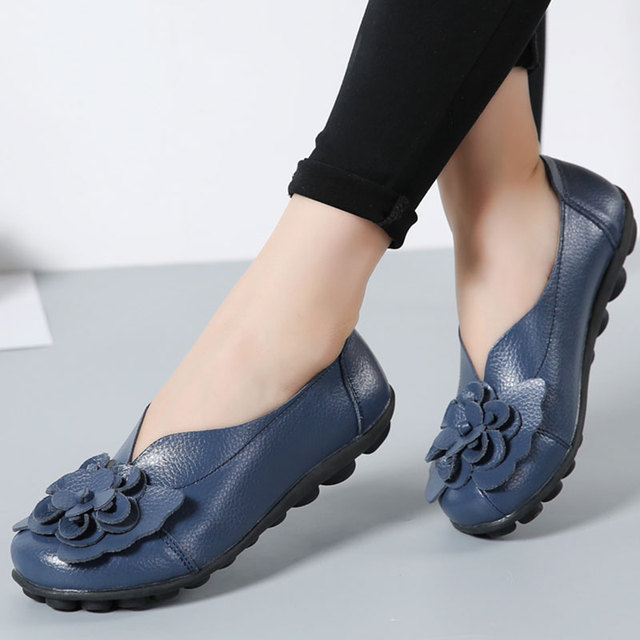 6e6e9a6f65a Designer Women Loafers Flower Genuine Leather Shoes Ladies Moccasins Ballet  Flats Round Toe Casual Zapatos Mujer Size 35-44