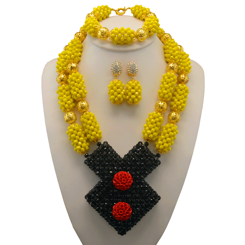 1cf8daed7e7 Elegant Yellow Crystal African Beads Jewelry Set Nigerian Bead Necklaces  Bracelet Earrings Celebration ~ Hot Sale June 2019