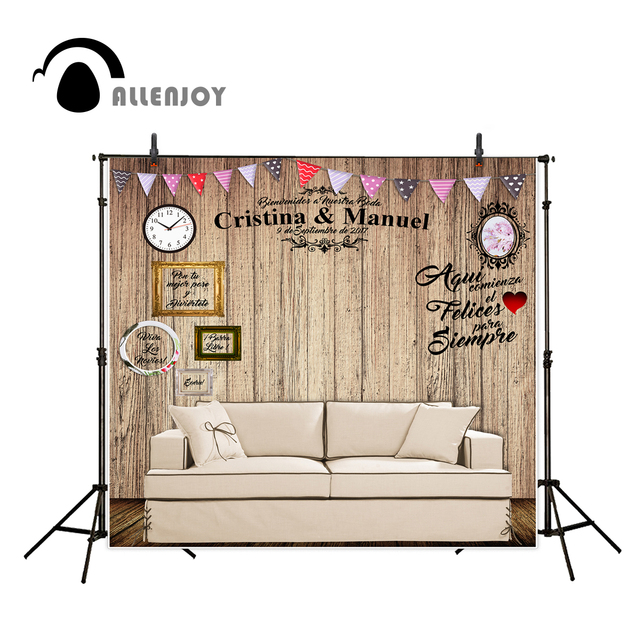 Allenjoy Photo Background Wedding Backdrop Custom Wood Board Wall Colorful  Banners Add Photo Sofa Indoor Background