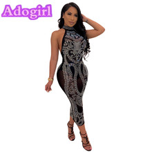 Adogirl  Sexy black Perspective Mesh Rhinestone Party Dress Women Fashion Backless Off Shoulder Bodycon Halter Midi Dresses Lady