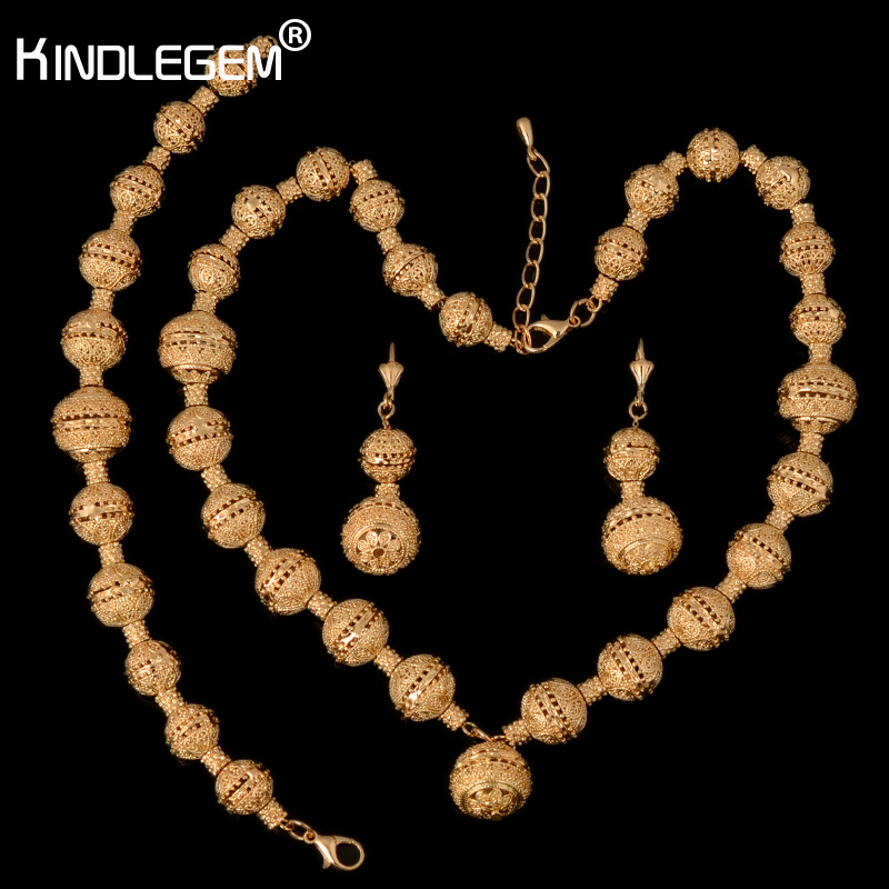 Kindlegem New African Beads Jewelry Sets Indian Gold Color Luxury Statement Choker Necklace Bracelet Ring Fashion Jewellery red color african beads jewelry sets two layer beads indian jewelry sets luxury statement choker necklace fashion jewellery