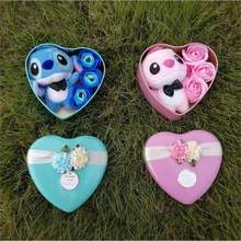 Handmade lovely stitch plush toys with soap flowers heart shape gift box creative Valentine's and birthday for girls(China)