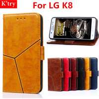 Retro Pattern Wallet Pouch Case For LG K8 PU Leather Flip Soft Silicone Colorful Phone Case