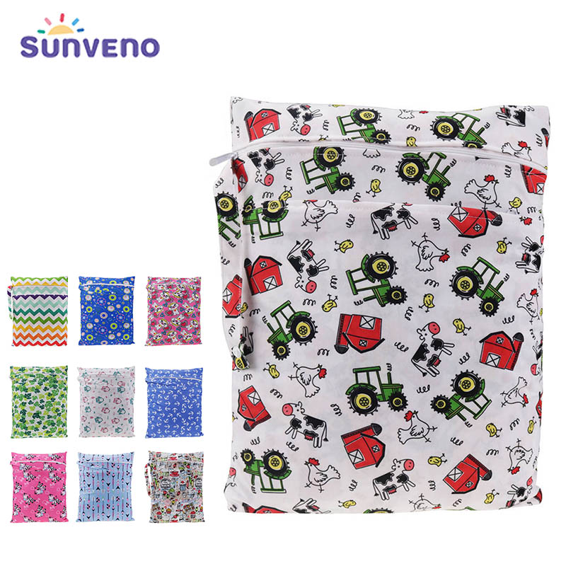 Sunveno Baby Diaper Bags Printed Double Zippered Wet/Dry Bag Waterproof Wet Cloth Diaper Backpack Reusable Diaper Cover Wet Bag