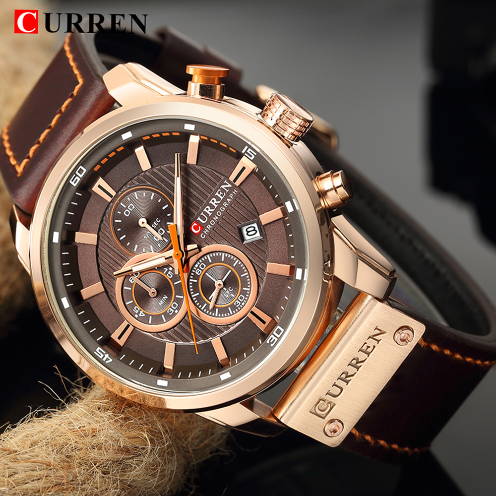 CURREN Men Sport Wrist Watches 2019 Top Brand Luxury Fashion Waterproof Chronograph Calendar Genuine Leather Military Male Clock