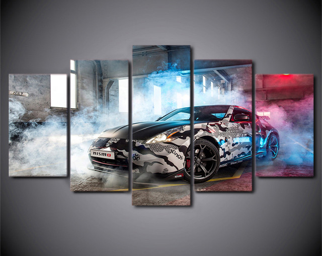 Canvas Printed 5Piece Wall Art NISSAN 370Z NISM Psychedelic Modular  Painting Post Prints Canvas Picture For