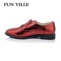 FUN VILLE 2018 Spring Women Flats Shoes British Style Women Casual Shoes Pointed Toe Oxford Shoes