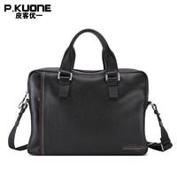 P.kuone luxury men bag genuine leather handbag shoulder bags business men briefcase laptop bag