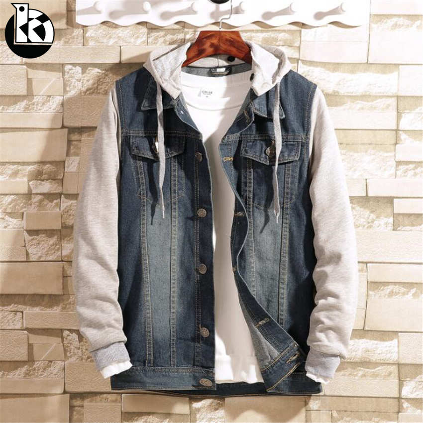 Spring Fashion New Hooded Casual Stitching Long-sleeved Jacket Men Boutique Trend Quality Solid Color Large Size Mens Jackets
