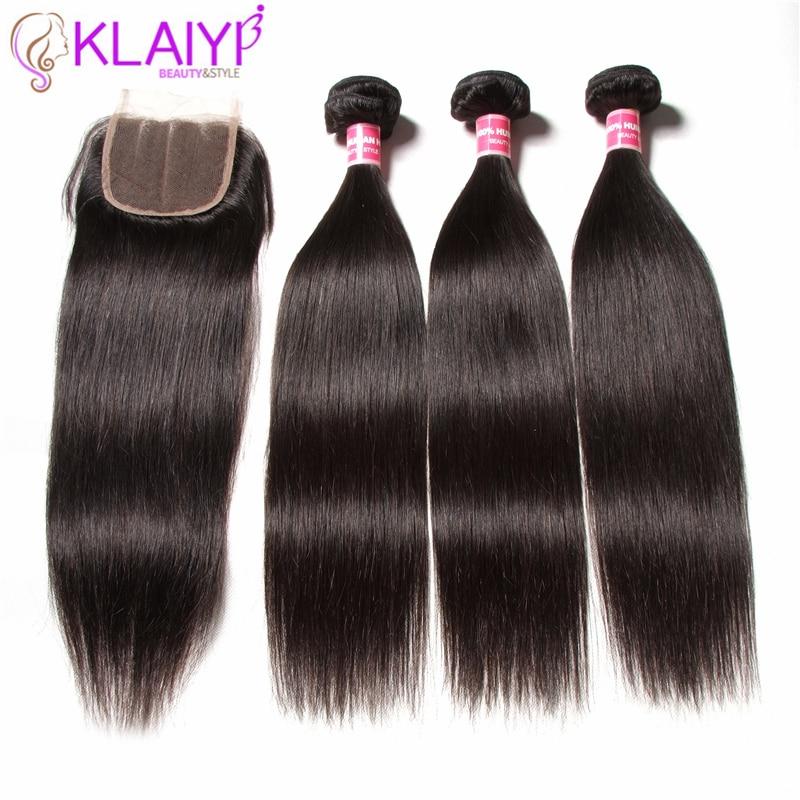 KLAIYI HAIR Malaysian Straight Bundles With Closure 100% Human Hair - Mänskligt hår (svart)