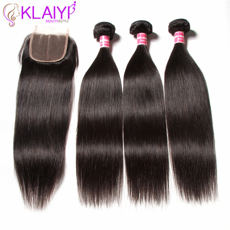 KLAIYI HAIR 말레이시아 스트레이트 번들, 100 % 인모 - 인간의 머리카락 (검은 색)