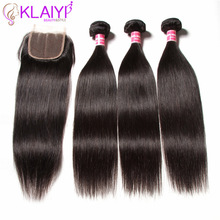 KLAIYI HAIR Malaysian Straight Bundles With Closure 100% Human Hair Extension 3 Bunter Med Closure Remy Hair Gratis Levering