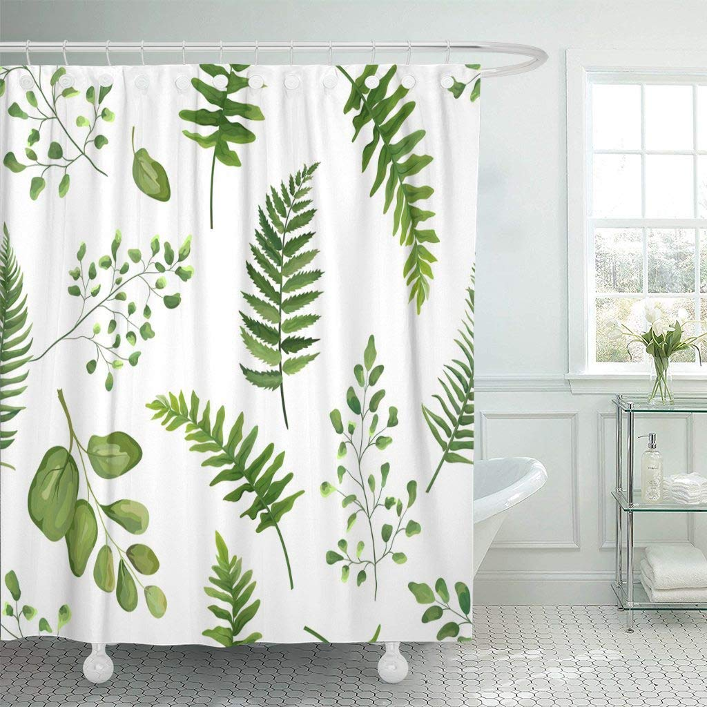 Shower Curtain With Hooks Greenery Green Leaves Botanical Rustic Floral Watercolor Forest Fern Frond Leaf Herbs Bathroom In Curtains From Home