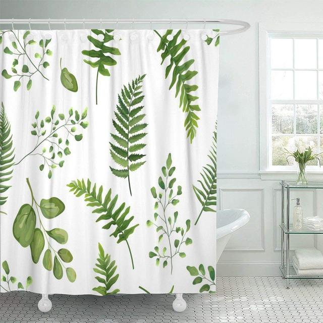 Shower Curtain With Hooks Greenery Green Leaves Botanical Rustic Floral Watercolor Forest Fern Frond Leaf Herbs